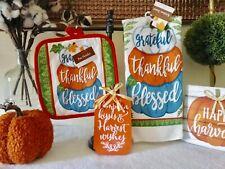 New 2 Pc Kitchen Towel Mitt Set Thanksgiving Pumpkins Blessed Grateful Thankful