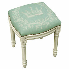 """PALAIS ROYALE"" IMPERIAL CROWN UPHOLSTERED STOOL - VANITY SEAT - AQUA"