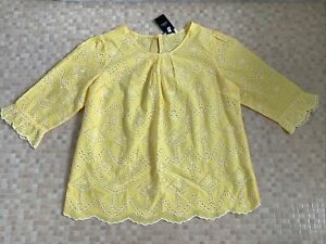 BNWT NEXT YELLOW BRODERIE ANGLAISE TOP SIZE 18