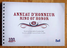 BOOK * ANNEAU D'HONNEUR Ring of Honor * Montreal Canadiens centennial 2008 2009