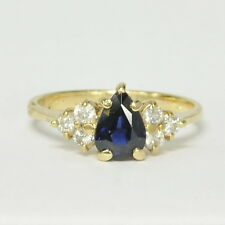 Ladies 14k Yellow Gold 3/4Ct Pear Cut Blue Sapphire & 1/4Ct Diamond Estate Ring