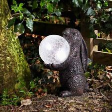 Rabbit March Hare Garden Ornament With LED Light Colour Changing Crackle Ball