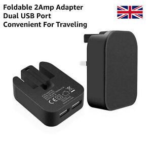New Universal 3-Pin Dual USB Port Foldable Main Wall Plug 2 AMP Fast Charger UK