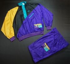 Rare Vintage NIKE Flight Spell Out Patch Nylon Track Suit Set 90s Hip Hop Purple