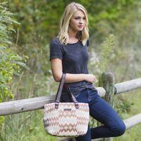 Women's Tote Bag Purse Bohemian Canvas & Leather Shoulder Handbag Zip Pockets