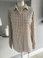 M&S Classic Ivory Blue Spotty Retro Shirt Blouse Size 10