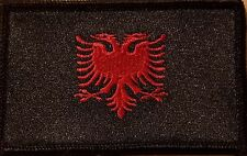 ALBANIA Flag Tactical Patch With VELCRO® Brand Black Version Black Border