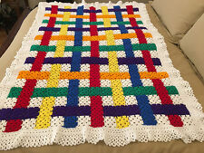 Handmade Afghan / Throw Blanket - Designer Collection - Rows of Color