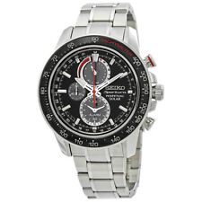 New Seiko Men's Sportura Solar Chrono Black Dial Watch SSC357 V198