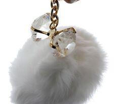 Diamond Bling with faux fur puff Chain Purse Key Chain Fob Bag Charm
