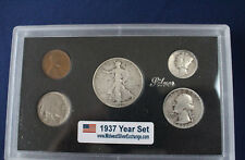 1937 United States Five Coin Silver Year Set Classic Coins in Display Case