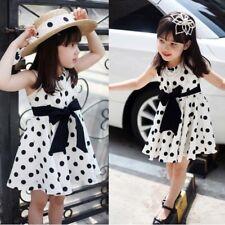 2-7T Kids Girls Chiffon Dress Toddler Sleeveless Polka Dots Bowknot Summer Dress