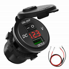 QC 3.0 Motorcycle Boat Car USB Charger Socket LED Voltmeter With ON/OFF Switch