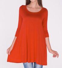 New Women's Long 3/4 Sleeve Tunic Top Shirt Blouse Dress USA S M L/Plus Size 3XL