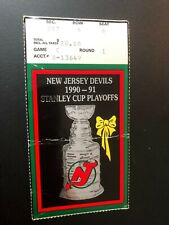 11990-91 NEW JERSEY DEVILS STANLEY CUP USED HOCKEY TICKET-STUB,Home Game C Seat8