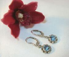 Reizvolle Ohrgehänge Ohrringe 835 Silber mit Blautopas Ohrschmuck / ax 390