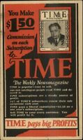 Time Magazine Adv Make $1.50 Commish on Each Subscription Crowley PC myn