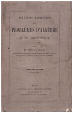 EYSSERIC et PASCAL - PROBLEMES D'ALGEBRE ET DE TRIGONOMETRIE - Ca 1870
