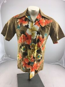 Vintage 80s REEF Hawaiian Floral Design button shirt BRIGHT MADE in HAWAII L