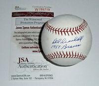 1957 BRAVES Del Crandall signed baseball w/ 1957 Braves JSA COA AUTO Autographed