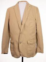 J Crew Mens sz L Brown Cotton Linen Blend Vintage Style Sport Coat Blazer Jacket
