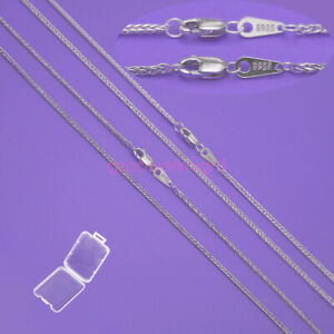 """Genuine 925 Sterling Silver Necklace Wheat Chain 14-28"""" Stamped Lobster Clasp"""