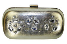 Dorothy Perkins Gold Box Clutch bag Embellished with Clear Stones