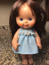 Vtg 1980 Ideal Toys Baby Doll Brunette Blue Eye Original Dress Panties
