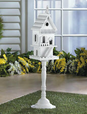 Charming Two Story Standing White Birdhouse on Pedestal Garden Yard Patio