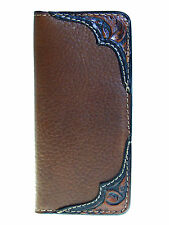 Mens Western Buffalo/Bison Leather Rodeo Wallet Tooled USA MADE Coronado Leather