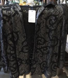 Chicos Size 2 Black /silver Lace Jacket NWOT