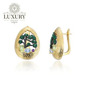 Natural Mixed Gemstones 18K Gold Plated Sterling Silver Enamel Stud Earrings