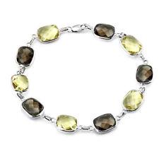 14k Oro Blanco Piedra Preciosa pulsera con limón y Ahumado Topacio 19.1cm