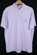 Polo Ralph Lauren Mens Sz XL Purple Striped Classic Fit Pocket Shirt
