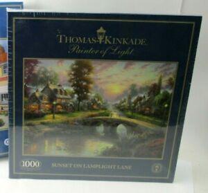 NEW Gibsons 1000 Piece Jigsaw Puzzle - Sunset of Lamplight Lane Thomas Kinkade