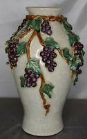 Heavy Art Pottery Porcelain Crackle Florentine Majolica Floor Vase Grape Vine