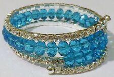 bracelet bijou style vintage tortillon 4 rangs perle cristal topaze * 4451