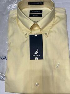 Nautica Mens Long Sleeve shirt Pale Yellow 80's 2 Ply Cotton 15 1/2 34/35 NWT