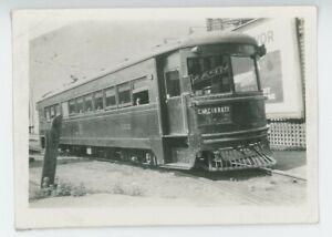 1930s Cincinnati & Lake Erie Railroad #122 Streetcar Interurban Trolley Electric