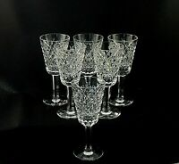 """ALANA by Waterford Crystal SHERRY GLASSES 5 1/8"""" Tall - Set of 6 Old Gothic Font"""