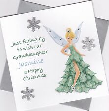 Personalised Handmade Tinkerbell Christmas Card - Daughter, Niece, Sister etc