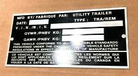 """BLANK Utility Semi Trailer Repro SERIAL Plate FOR US Canadian Dry Van 5.75x2.75"""""""
