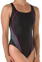 SPEEDO Solid ProLt Drop Back Pink Black Grey Swim Suit Womens 6 32 10 36 12 38