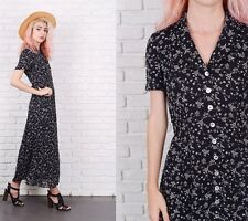 Vintage 90s Black A Line Dress Grunge Shirtdress Maxi Small S