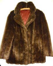 Vintage 50s 60s Genuine Barmink Brown Simulated Fur Evening Coat Jacket Size 14