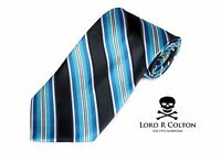 Lord R Colton Studio Tie - Black & Turquoise Stripe Necktie - $95 Retail New