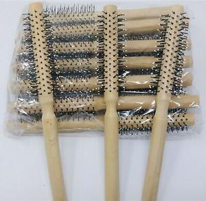 "12 hair brush Round Natural Wood Nylon Bristle 8 1/4"" styling/Curling Brush"