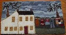 SALTBOX WITH CLOTHESLINE  Primitive Rug Hooking Kit with #8 cut wool strips