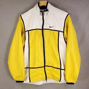 Vtg NIKE Mens Jacket Windbreaker SZ L Yellow Color Block Full Zip 90's Clima-Fit