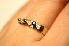 100% Genuine 9ct Solid Gold ring with Genuine Diamonds And Sapphires. Sz 7.75